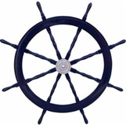 Hampton Nautical Deluxe Class Dark Blue Wood and Chrome Decorative Ship Steering Wheel 48″ – ation