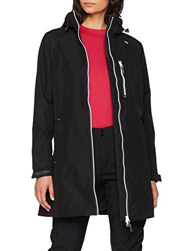 Helly Hansen Women's Long Belfast Lightweight Waterproof Windproof Breathable Raincoat Jacket with Hood, 991 Black, X-Large