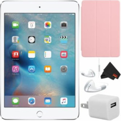 Apple iPad mini 4 128GB 7.9″ Retina Display (Wi-Fi Only, Silver) MK9P2LL/A – Bundle w/ Pink Smart Cover