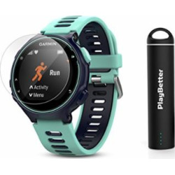 Garmin Forerunner 735XT (Frost Blue) Power Bundle | Includes HD Glass Screen Protectors (x2) & PlayBetter Portable Charger | Multisport GPS Training Watch