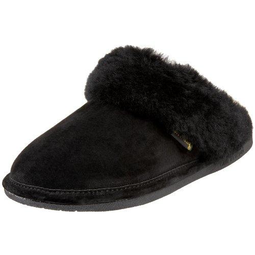 Old Friend Women's 441169 Scuff Sheepskin Slipper, Black, Medium/6.5-7.5 M US
