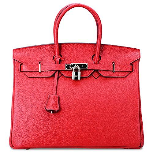 SanMario Designer Handbag Top Handle Padlock Women's Leather Bag with Silver Hardware Red 30cm/12″