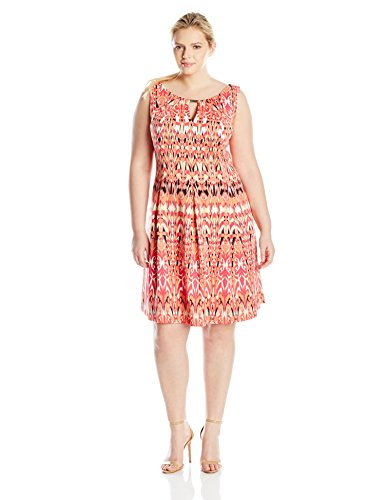 Gabby Skye Women's Plus-Size All Over Print Dress with Key Hole, Coral Multi, 16W