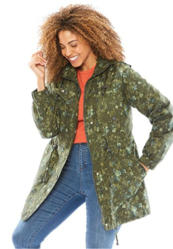 Woman Within Plus Size Weather-Resistant Taslon Anorak – Hunter Green Dried Floral, 1X