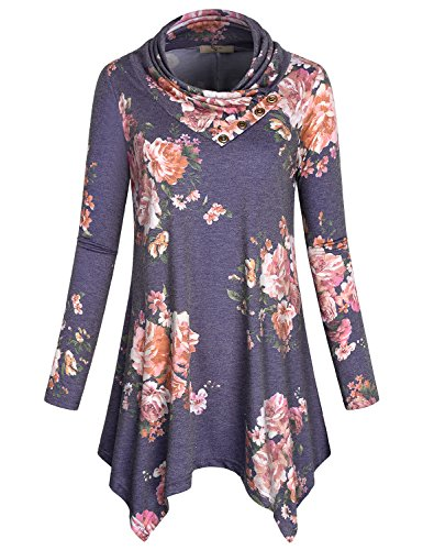 Cestyle Tunic Sweatshirt, Women's Long Sleeve Cowl Neck Asymmetrical Hem Comfy Loose Flattering Tops Knitted Flower Printed Sweater Dresses with Buttons Multi-Purple X-Large