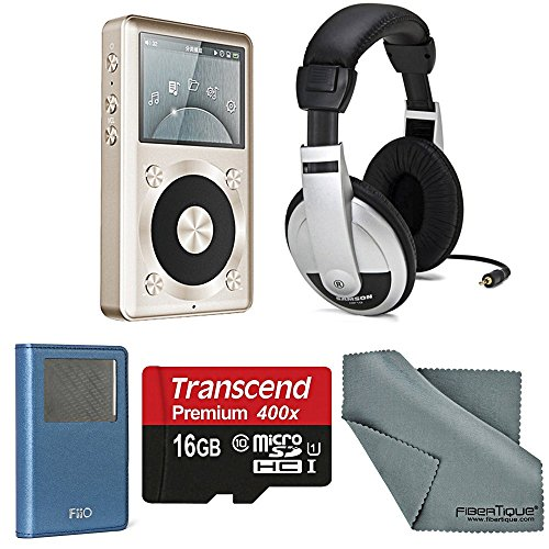 FiiO X1 Portable Music Player with Samson Stereo Headphones and Accessory Bundle, (Gold, 16GB)