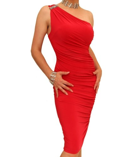 Blue Banana – Red Figure Hugging Diamante Dress US Size 4