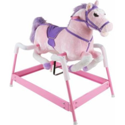 Spring Rocking Horse Plush Ride on Toy with Adjustable Foot Stirrups and Sounds for Toddlers to 5 Years Old by Happy Trails – Pink