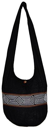 Stripe Cotton Bohemian Shoulder Hippie Hobo Bag Large Light Weight 36″ (BlackWhiteBrown)