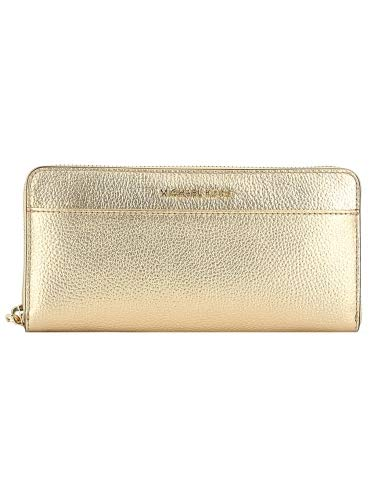 MICHAEL KORS Pocket Zip Around Mercer Continental Wallet ID Protect PALE GOLD