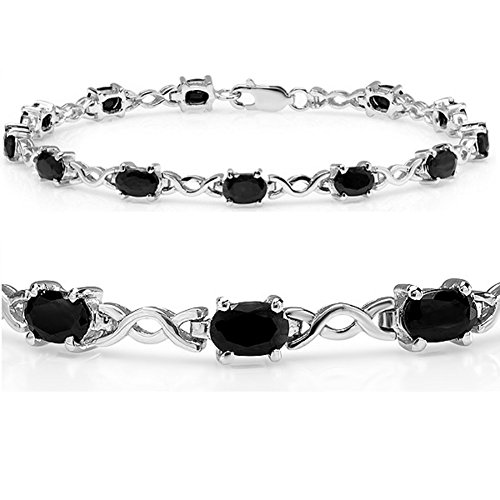 7ct tgw Sapphire Infinity Tennis Bracelet set in Sterling Silver (7 1/4 inches)