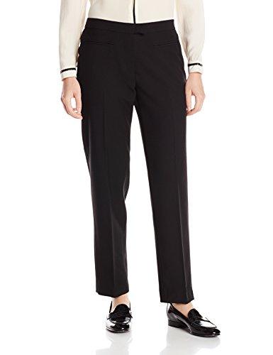 Ruby Rd. Women's Petite Flat Front Easy Stretch Pant, Black, 14 Petite