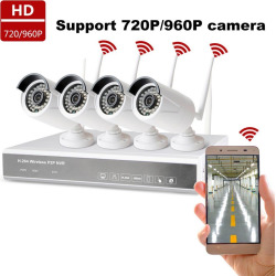 Sunrain 4CH 960P HD Wireless Security Camera System Smart HD Outdoor WiFi IP Cameras with Night Vision