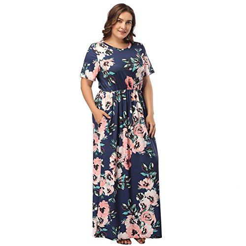 HOOYON Women's Casual Floral Printed Long Maxi Plus Size Dress with Pockets Royal Blue 4XL