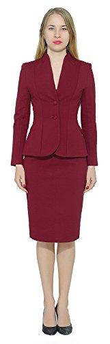 Marycrafts Women's Formal Office Business Work Jacket Skirt Suit Set 0 Burgundy
