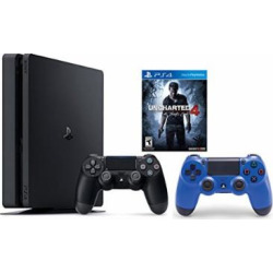 PlayStation 4 Slim Console 2 items Bundle:PS4 Slim – Uncharted 4 Bundle,Sony PlayStation 4 Dualshock 4 Wireless ControllerWave Blue