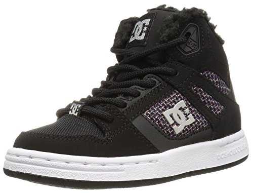 DC Girls Youth Rebound Wnt High Top Skate Shoes Sneaker, Black/White/Pink, 5 M US Big Kid