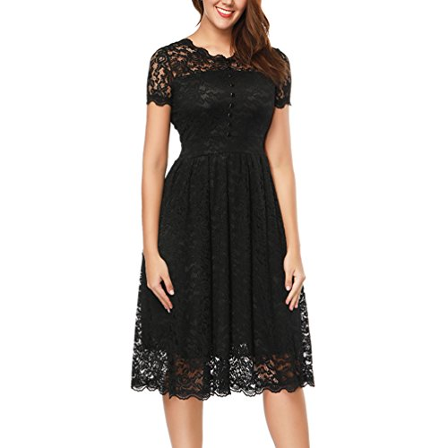 Vicabo Women's Retro Floral Lace Cap Sleeve Vintage Bridesmaid Cocktail Dress (XL Bust 38 inch, Black)