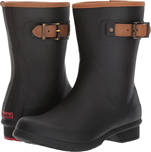 Chooka Women's Mid-Height Memory Foam Rain Boot, Black, 5 M US