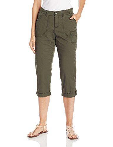 Lee Women's Relaxed Fit Carsen Knit Waist Capri Pant, Moss, 16