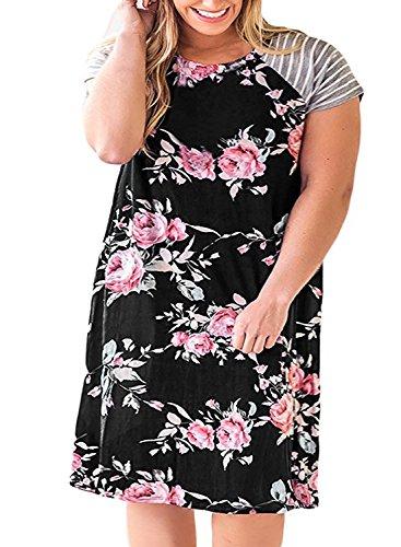 Remikstyt Womens Plus Size Tunic Dress Floral Print Short Sleeve Striped Summer T Shirt Dress