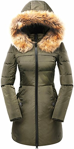Beinia Valuker Women's Down Coat with Fur Hood 90D Parka Puffer Jacket 57-Green-M