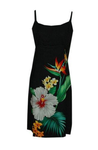 Jade Fashions Inc.. Women Rayon Hawaiian Short Black Tropical Flower Spaghetti Dress-Black-3XL