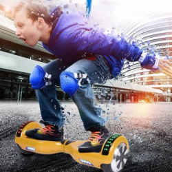 Hoverboard Self Balancing Scooter Hover Board Kids Adults UL Safety Certified LED Light & Bluetooth Speaker LED Remote Controll Electric Skate Board With Carrying Bag,6.5″,Gold