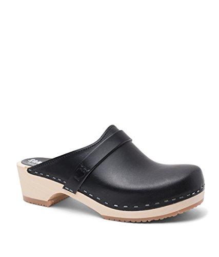 Sandgrens Swedish Low Heel Wooden Clog Mules for Women   Tokyo Black, EU 39