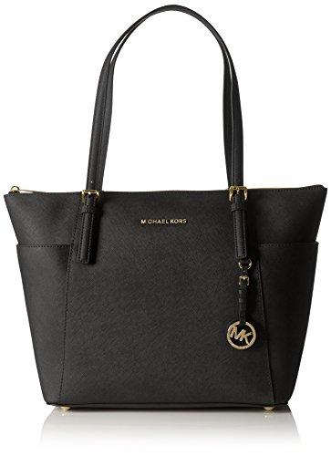 Michael Kors Women Jet Set Large Top-zip Saffiano Leather Tote Shoulder Bag, Black (Black), 12.7×29.8×31.8 cm (W x H x L)