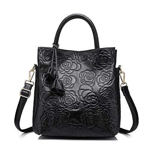 Designer Genuine Leather Handbag Women Tote Bag Floral Embossed Shoulder Bag by Realer(Black)
