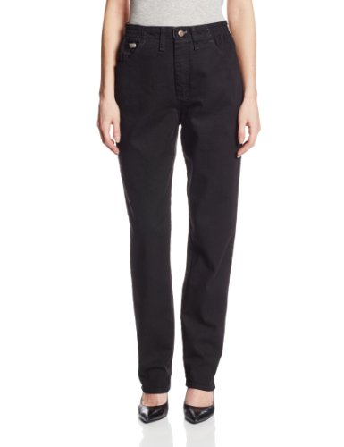 Lee Women's Relaxed Fit Side Elastic Tapered Leg Jean, Double Black, 10