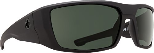 Spy Optic Dirk Polarized Wrap Sunglasses, Soft Matte Black/Happy Gray/Green Polar, 64 mm