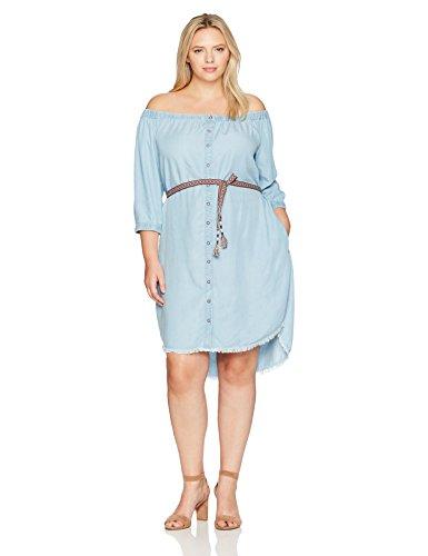 Democracy Women's Plus Size Off Shoulder Button Down Rounded Hem Dress, Light Blue, 1X