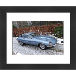 Framed Print of Jaguar E-Type Series 1 3.8-Litre Coupe 1964 Blue metallic light