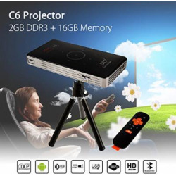 Android Smart DLP Mini Projector,4K LED 1080P WiFi Bluetooth pocket projector HD Home Theater Movie Family Cinema, Support Wifi/HDMI/Bluetooth/USB/TF card/Audio Cable incluidng Tripod Stand