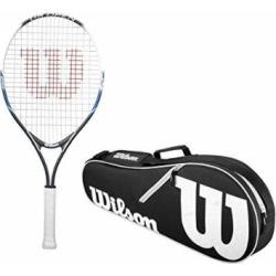 Wilson US Open Junior 25″ Inch Pre-Strung Tennis Racquet Starter Kit or Set Bundled with a Black/White Wilson Advantage II 2-Pack Tennis Bag