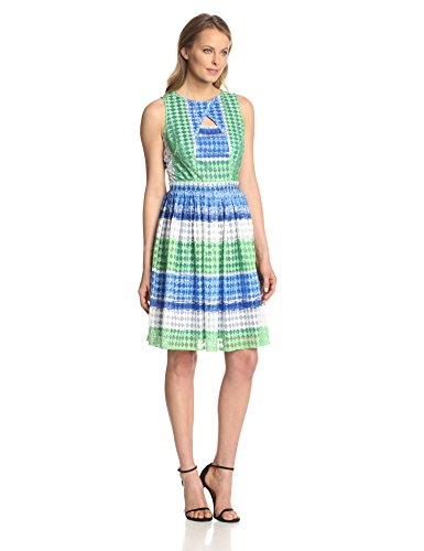 Julian Taylor Women's Sleeveless Stripe Printed Fit and Flare Cutout Dress, Royal/Green, 14