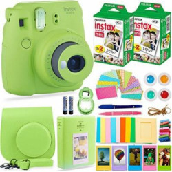 FujiFilm Instax Mini 9 Instant Camera + Fuji Instax Film (40 Sheets) + Accessories Bundle – Carrying Case, Color Filters, Photo Album, Stickers, Selfie Lens + MORE(Lime Green)