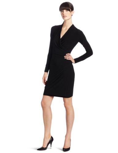 KAMALIKULTURE Women's Long Sleeve Side Draped Dress, Black, Large