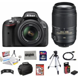 Nikon D5200 24.1 MP CMOS Digital SLR with 18-55mm f/3.5-5.6 AF-S DX VR NIKKOR Zoom Lens + Nikon 55-300mm f/4.5-5.6G ED VR AF-S DX Nikkor Zoom Lens + 10 Piece Accessory Bundle.