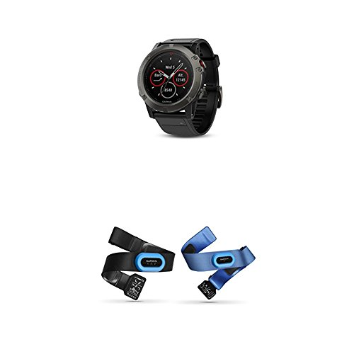 Garmin Fenix 5X Sapphire – Slate Gray with Black Band and HRM-Tri and HRM-Swim Accessory Bundle