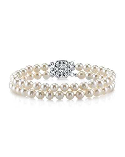 THE PEARL SOURCE Sterling Silver 5-6mm AAAA Quality Round White Double Freshwater Cultured Pearl Bracelet for Women