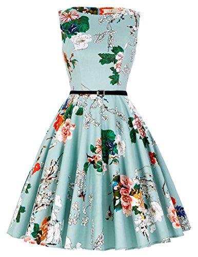 Floral A-Line 1940's Dresses Women Belt Size L F-33