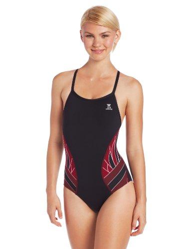 TYR SPORT Women's Phoenix Splice Diamondfit Swimsuit (Black/Burgundy,  38)