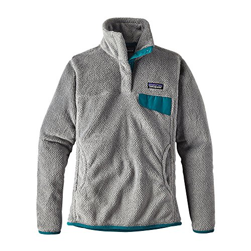 Patagonia Womens Re-Tool Snap-T Fleece Pullover (Small, Tailored grey- Nickel X-Dye w/ Elwha Blue)
