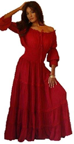 Lotustraders Ruffled Dress Peasant Smocked Red Small A1290