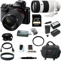 Sony ILCE7K/B 24.3 MP a7K Full-Frame Interchangeable Digital Lens Camera with 28-70mm Lens plus Sony FE 70-200mm F4 G OIS Interchangeable Lens for Sony Alpha Cameras and 64GB Deluxe Accessory Kit