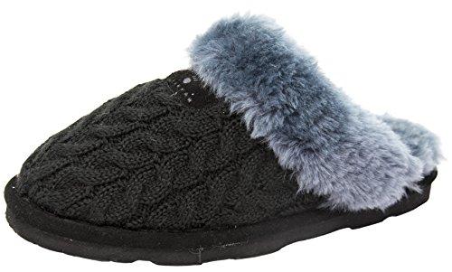 BEARPAW Women's Effie Slide Slipper (9 B(M) US, Black/Grey)