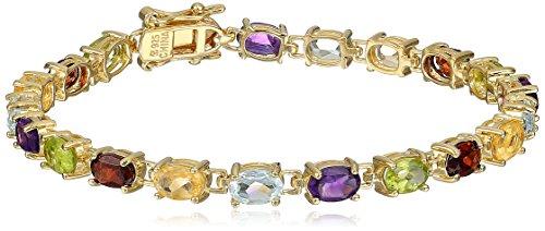 18k Yellow Gold Plated Sterling Silver Genuine Multi Gemstone Tennis Bracelet, 7″